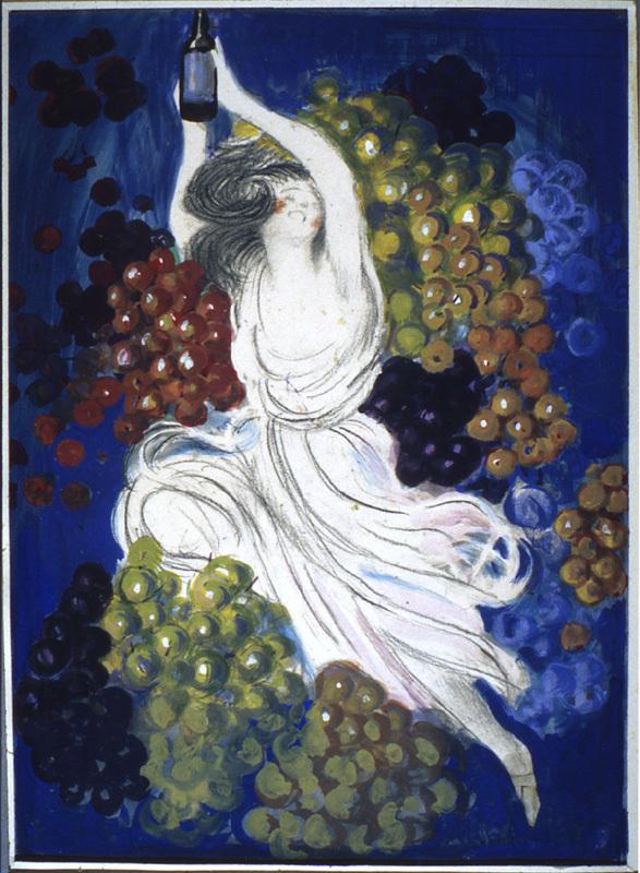 Femme et raisins