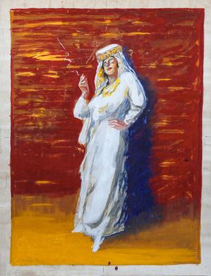 Femme arabe fumant